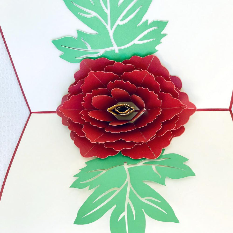 Handmade Red Peony Flower Pop Up Greeting Card - Online Party Supplies