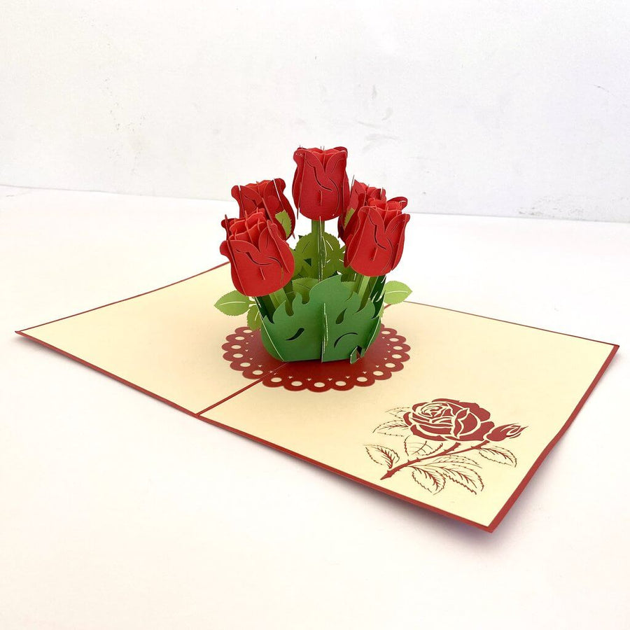 Handmade Red Rose Bouquet 3D Pop Up Greeting Card - Mother's Day, Valentine's Day Pop Up Cards - Wedding Invitations