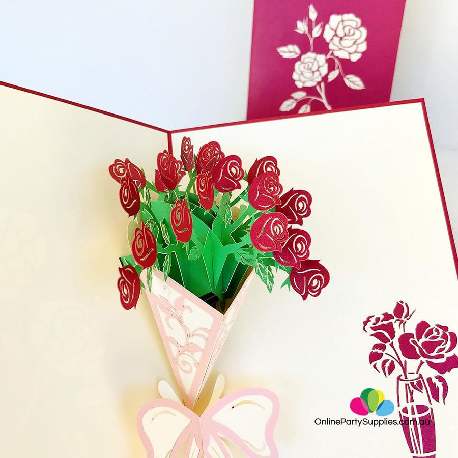 Handmade Red Rose Bouquet 3D Pop Up Card