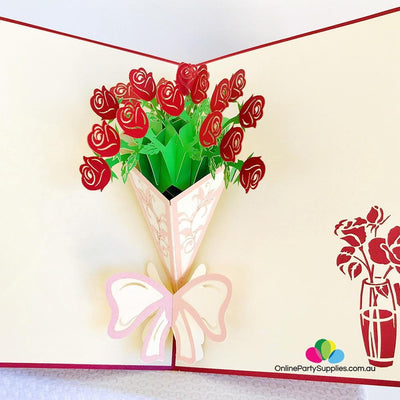 Handmade Red Rose Bouquet 3D Pop Up Card - Online Party Supplies