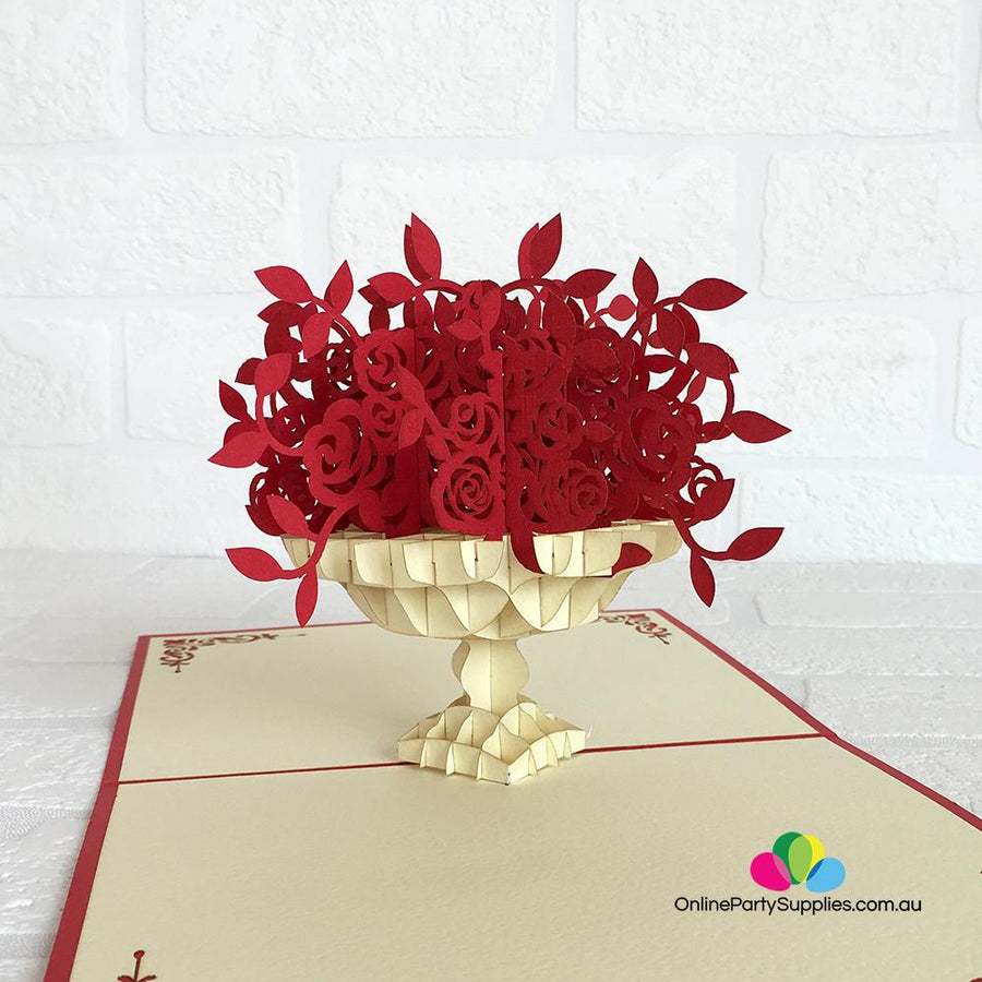 Handmade Red Rose Bouquet 3D Pop Up Valentine's Day Card - Online Party Supplies