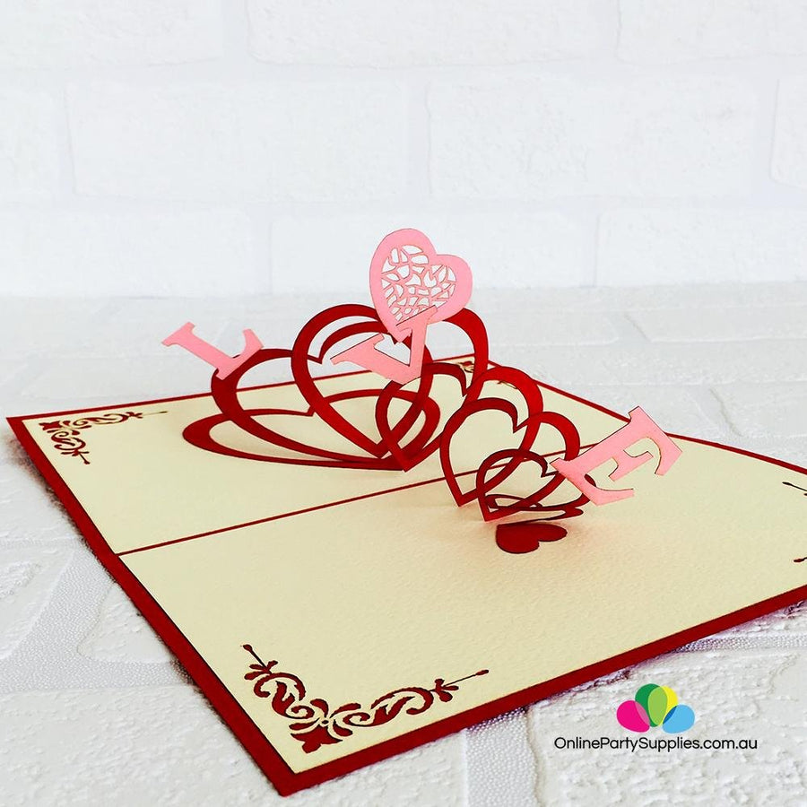 Handmade Red Spiral Love Hearts Pop Up Valentine's Day Card - Online Party Supplies