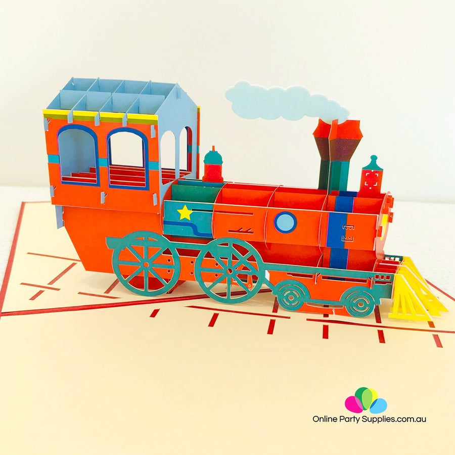 Handmade Red Steam Locomotive Pop Up Greeting Card - Online Party Supplies
