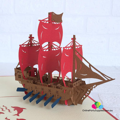 Handmade Red Viking Ship Pop Up Card - Online Party Supplies