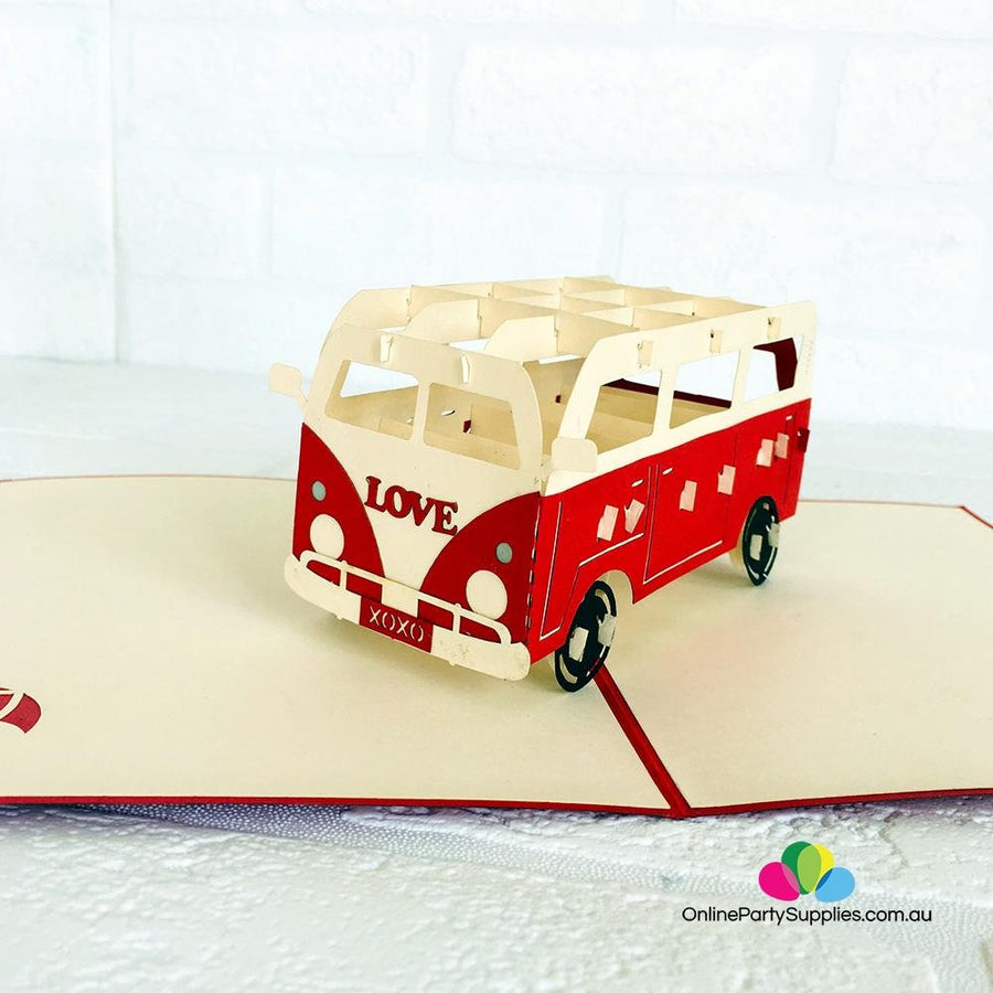 Handmade Red Vintage VW Kombi Camper Pop Up Card - Online Party Supplies