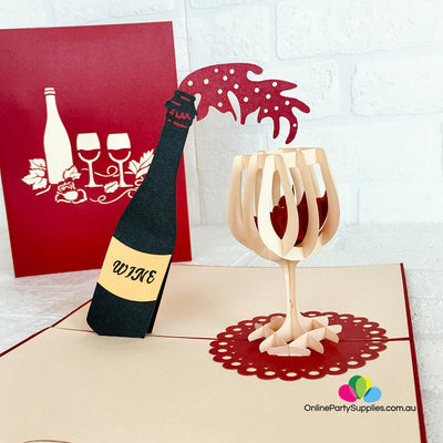 Handmade Red Wine Bottle and Glass 3D Pop Up Card - Online Party Supplies