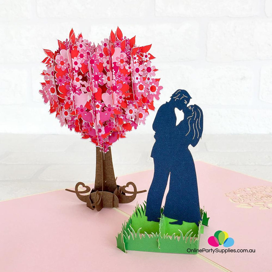 Handmade Silhouette Couple Kissing Near Pink Heart Tree 3D Pop Up Card