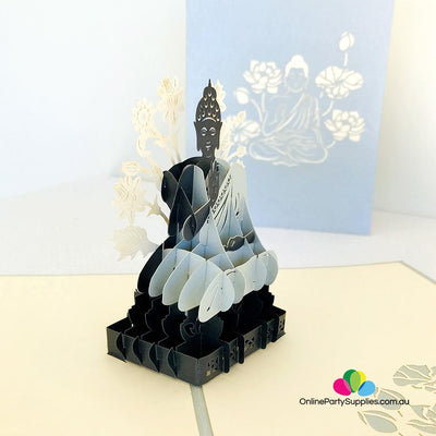 Handmade Silver and Grey Sitting Buddha In Meditation 3D Pop Up Card - Online Party Supplies
