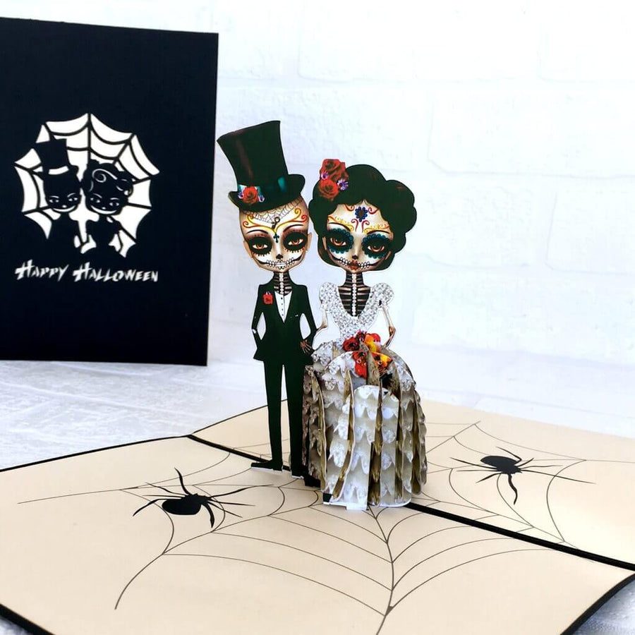 Handmade Scary Skeleton Wedding Couple Hand In Hand Pop Up Card