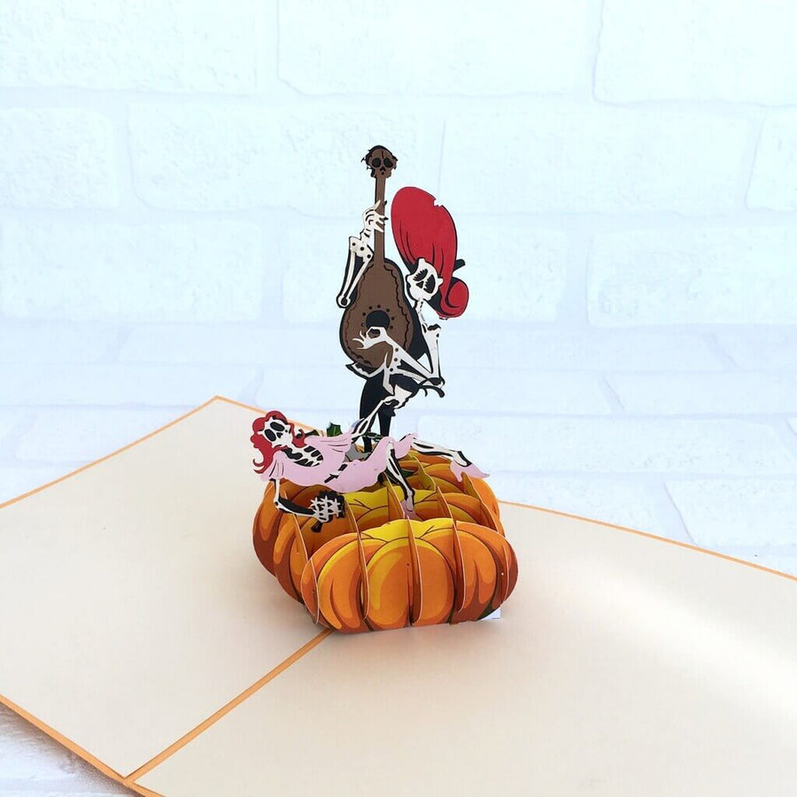 Handmade Online Party Supplies Spooky Skeleton Couple On Pumpkin Pop Up Greeting Card