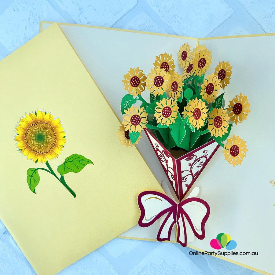 Handmade Sunflower Bouquet 3D Pop Up Card - Online Party Supplies
