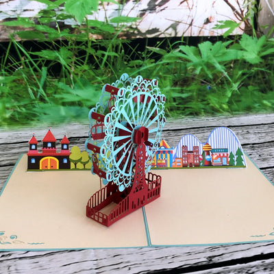 Handmade Turquoise Ferris Wheel 3D Pop Up Card - Online Party Supplies