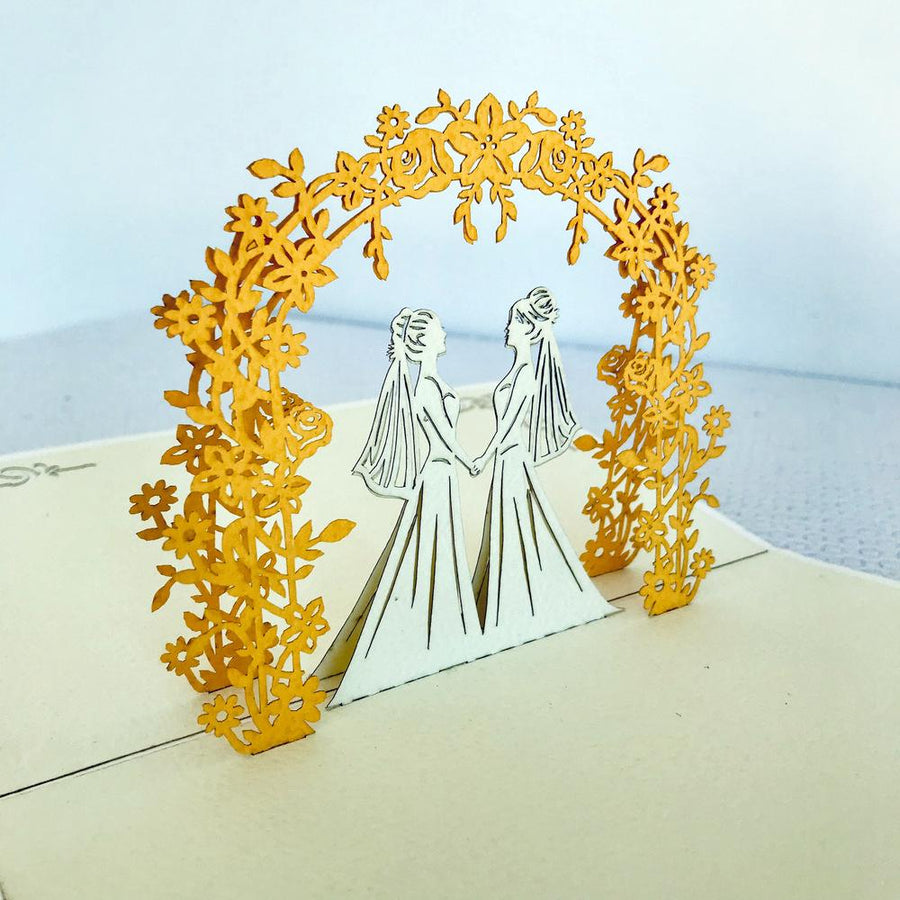 Handmade Two Brides Wedding Pop Up Card - 3D Wedding Invitations - Online Party Supplies