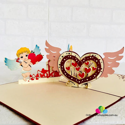 Handmade Two Cupids and Heart Pop Up Valentine's Day Card - Online Party Supplies