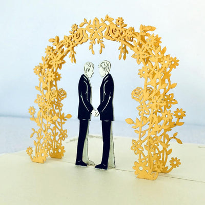 Handmade Two Grooms Wedding Pop Up Card - 3D Wedding Invitations - Online Party Supplies