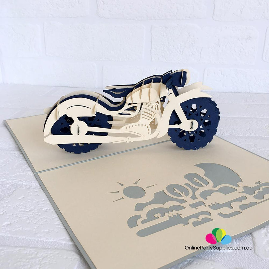 Handmade White and Blue Motorbike Pop Up Card