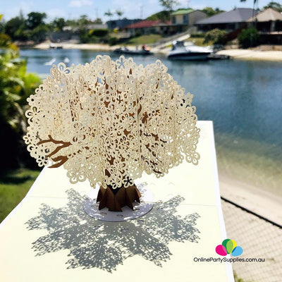 Handmade White Cherry Blossom Tree 3D Pop Up Card - Online Party Supplies