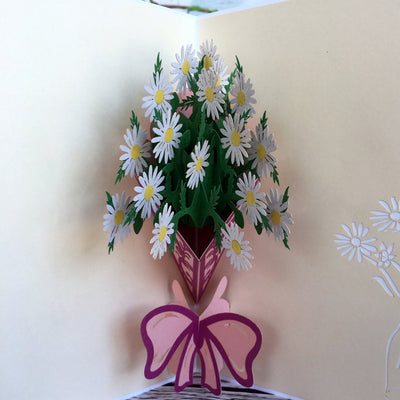 Handmade White Daisy Bouquet 3D Pop Up Card - Online Party Supplies