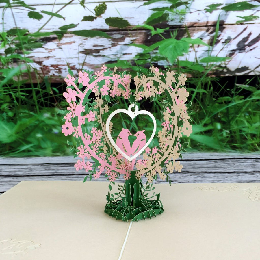 Handmade White Pink Love Birds Tree 3D Pop Up Valentine's Day Card - Online Party Supplies