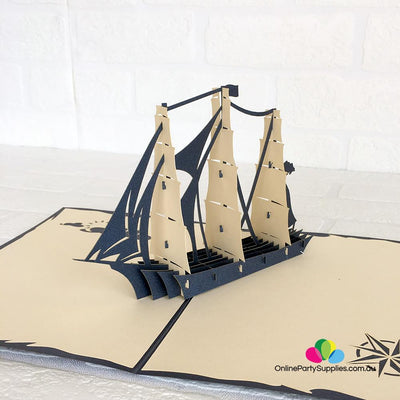 Handmade White Sailing Boat Pop Up Card - Online Party Supplies
