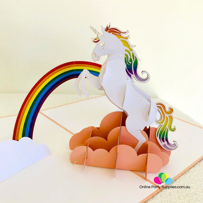 Handmade White Unicorn Over Rainbow Pop Up Card - Online Party Supplies
