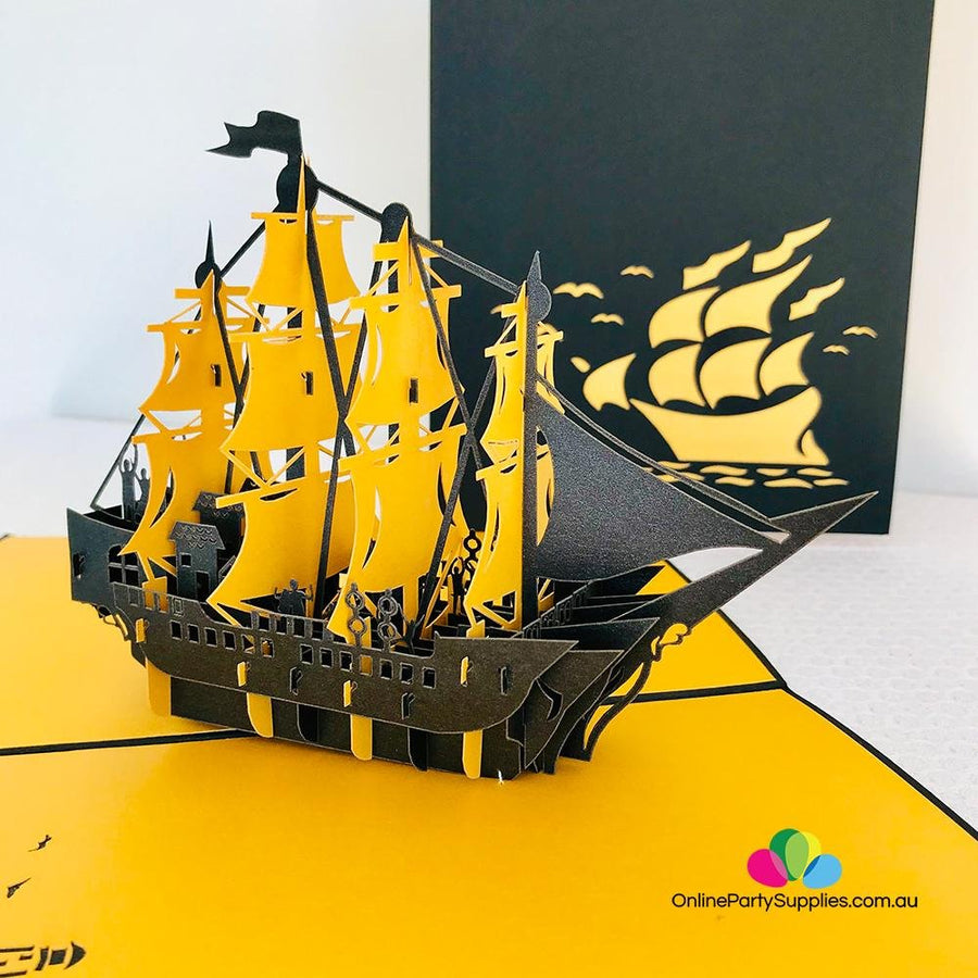 Handmade Yellow and Black Pirate Ship Pop Up Card - Online Party Supplies
