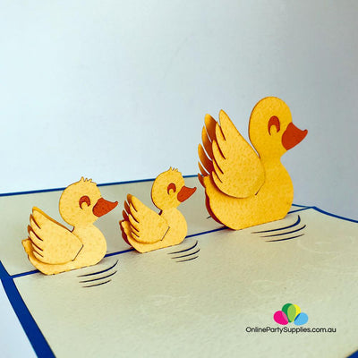 Handmade Yellow Duck Family 3D Pop Up Card - Online Party Supplies