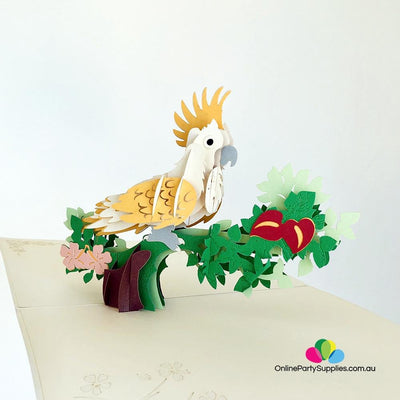 Handmade Yellow White Cockatoo Pop Up Greeting Card - Online Party Supplies