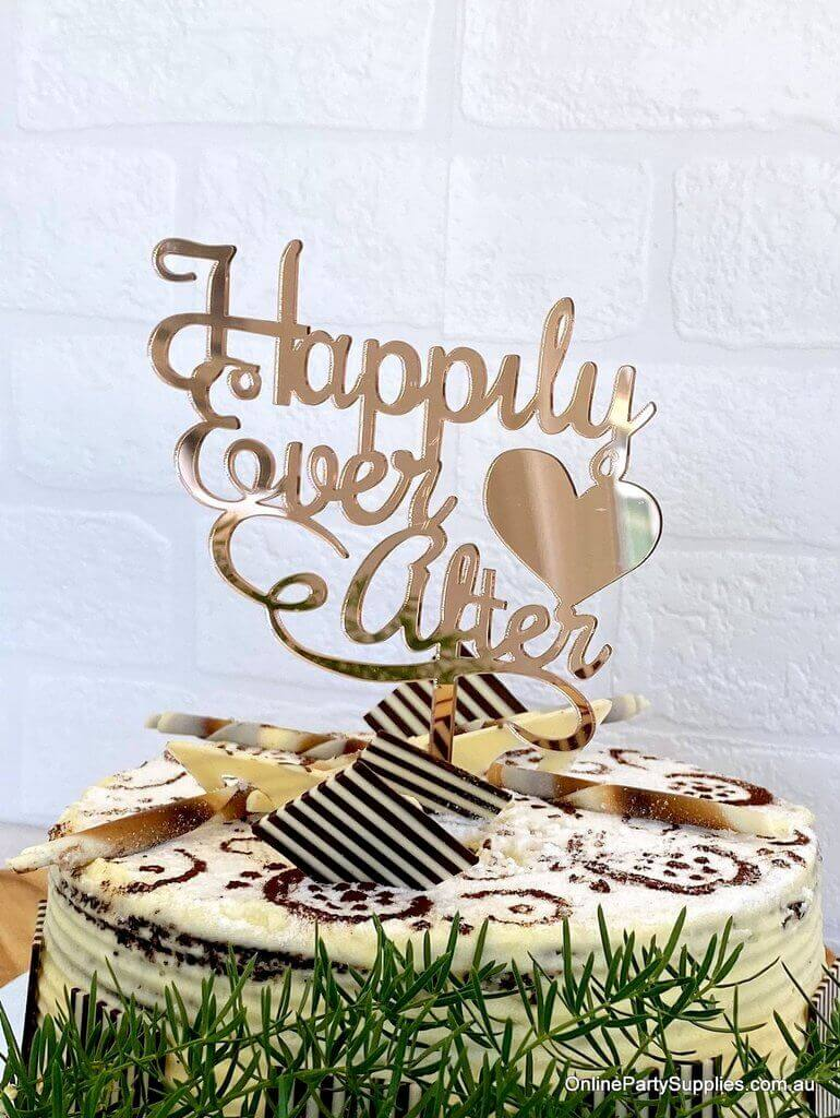 Acrylic Rose Gold Mirror 'Happily Ever After' Wedding Cake Topper