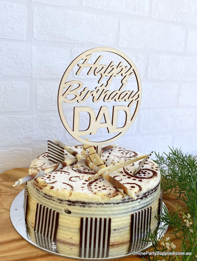 Wooden Circle Happy Birthday DAD Script Cake Topper Cake Decorations