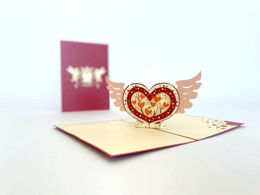 Handmade Heart with Wings 3D Pop Up Valentine's Day Card