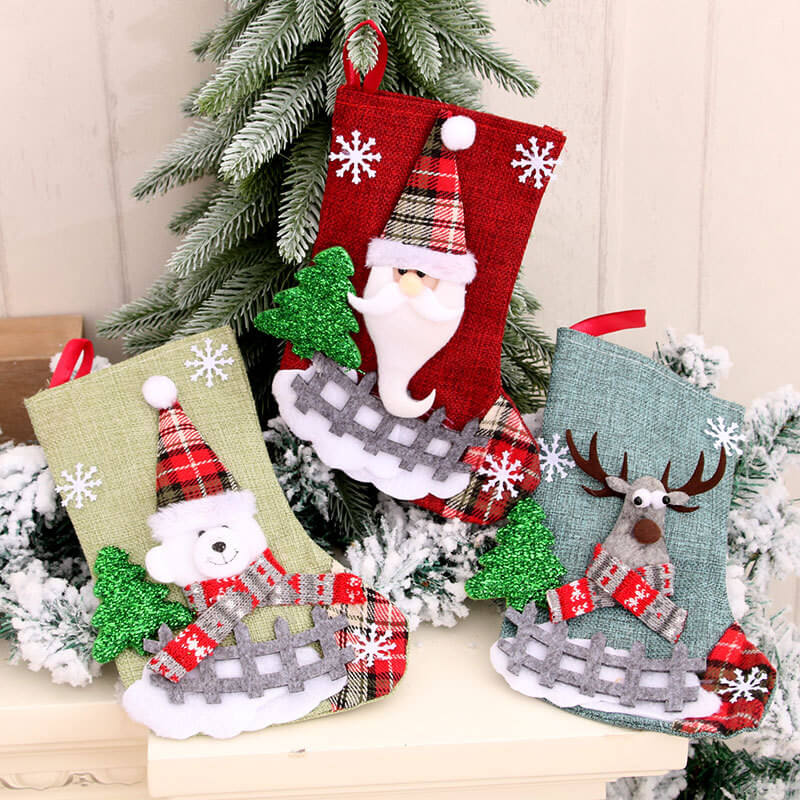 23cm x 15cm Burlap Christmas Stocking