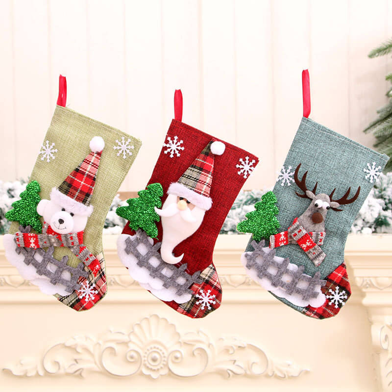 23cm x 15cm Burlap Christmas Stocking - Santa Claus