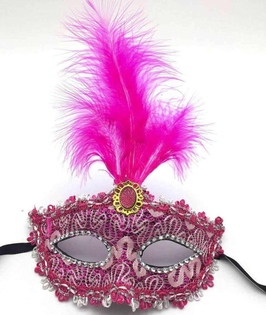Elegant Tall Feather Lace Masquerade Mask for Women - Hot Pink
