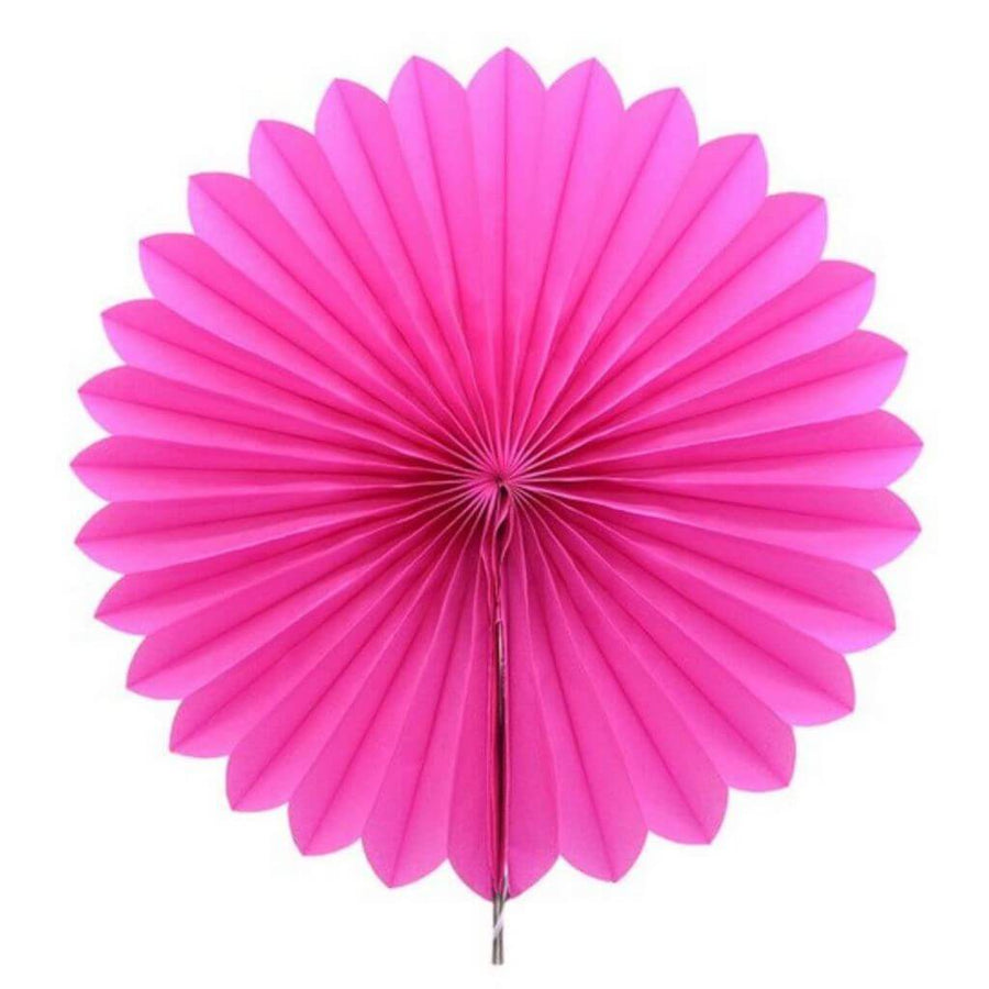 Hot Pink Tissue Paper Fan - 6 Sizes