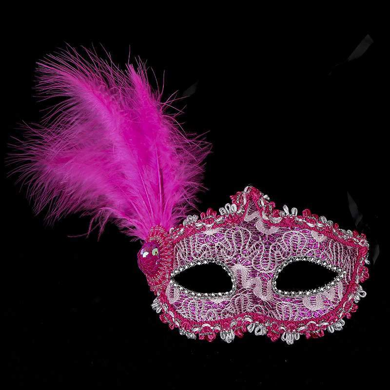 Glitter Lace Tall Feather Masquerade Mask - hot Pink