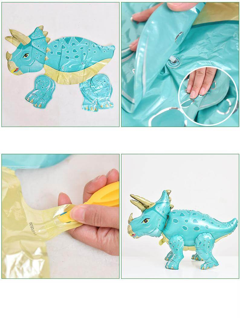 Large 4D Standing Orange T-Rex Dinosaur Foil Balloon