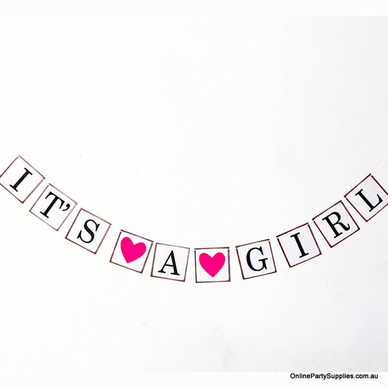 'It's A Girl' Baby Shower Bunting Banner - Gender Reveal Party Decorations