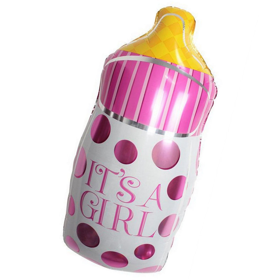 It's A Girl Pink Baby Milk Bottle 32'' SuperShape Helium Foil Balloon - Online Party Supplies