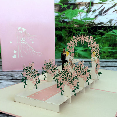 Handmade Classic Pink Wedding With Bridesmaid and Best man 3D Pop Up Card Wedding Invitations