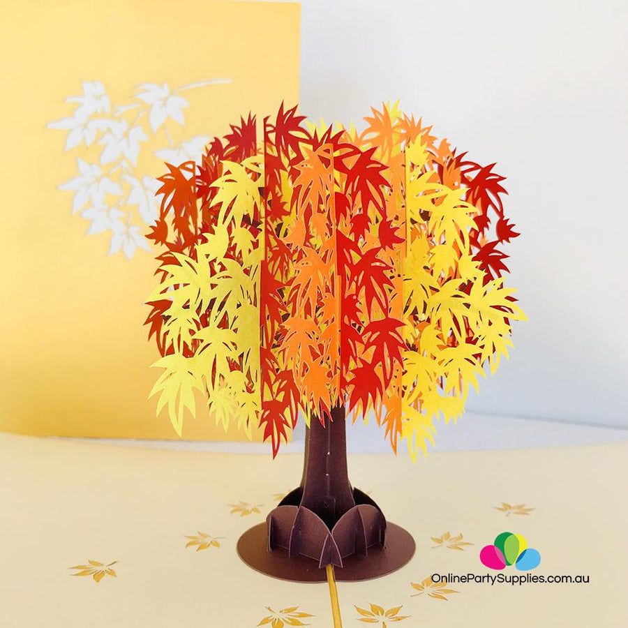 Japanese Autumn Maple Tree 3D Pop Up Card - Online Party Supplies