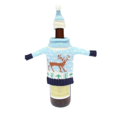 JOY Snowman Moose Xmas Tree Christmas Wine Bottle Woolen Cover Sweater with Hat Set - Online Party Supplies