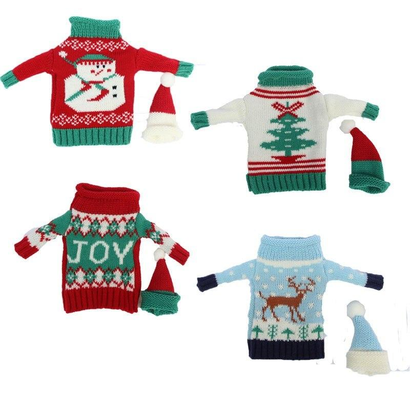 JOY Snowman Moose Xmas Tree Christmas Wine Bottle Woolen Cover Sweater with Hat Set