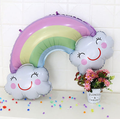 "38"" Jumbo Pastel Smiling Happy Cloud with Rainbow Foil Balloon"