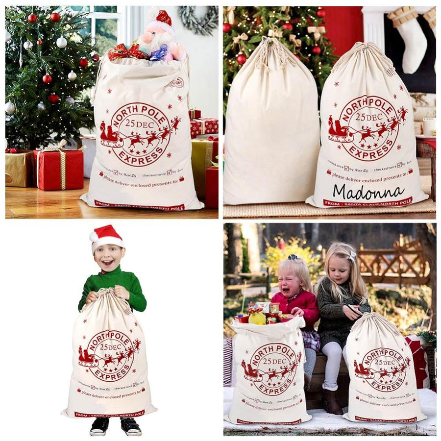 Jumbo Natural Cotton Christmas Santa Claus Drawstring Canvas Sack Bag for Kids