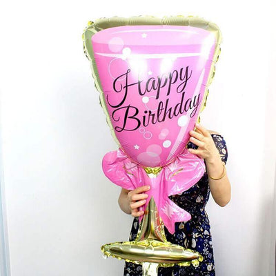 "37"" Online Party Supplies Jumbo Pink Happy Birthday Wine Goblet Glass Shaped Foil Balloon"