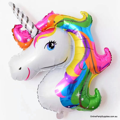 Jumbo Super Shape Rainbow Unicorn Head Foil Balloon - Online Party Supplies