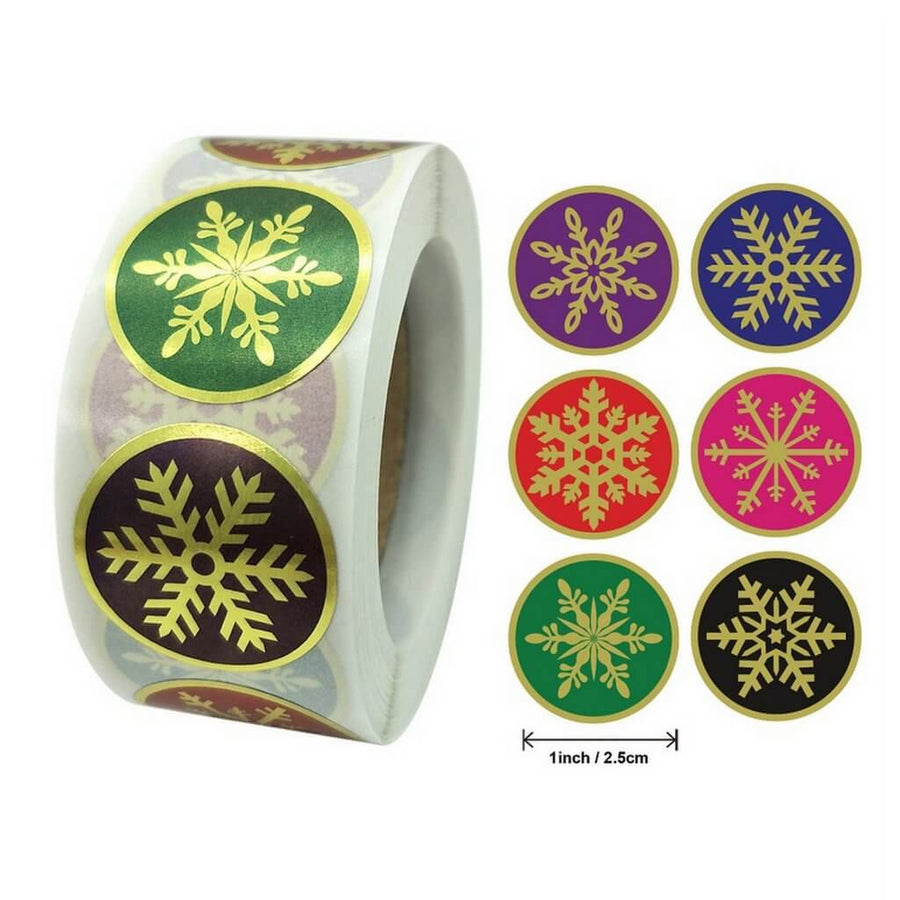 Style L - Round Gold Foil ChristmasSnowflake Stickers - Christmas Gift Packaging and Wrapping Supplies