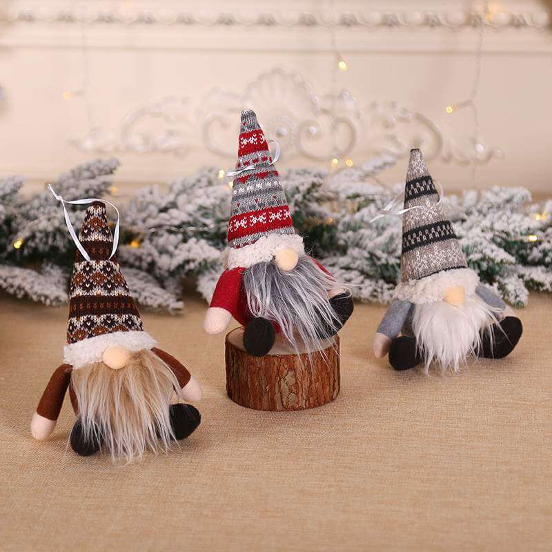 Knitted Christmas Gnome Santa Tree Hanging Ornament & Shelf Sitter