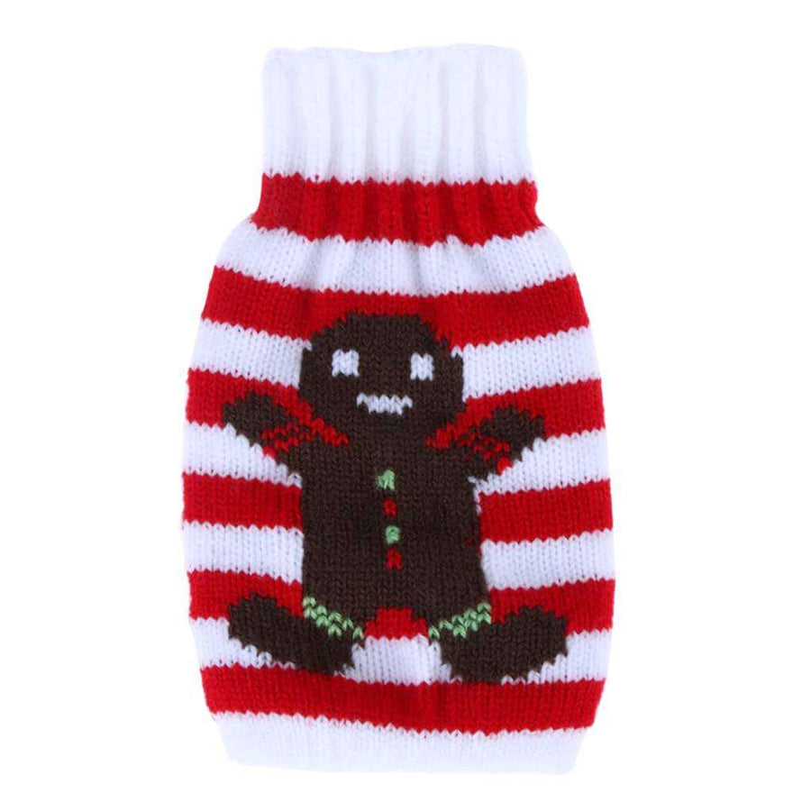 Knitted Christmas Bottle Stubby Holder - Gingerbread Man